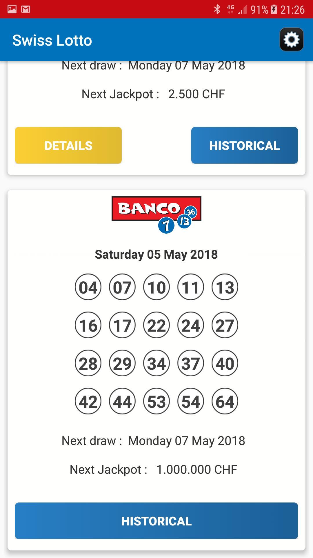 6 Fora 45 números vencedores - resultados da loteria áustria