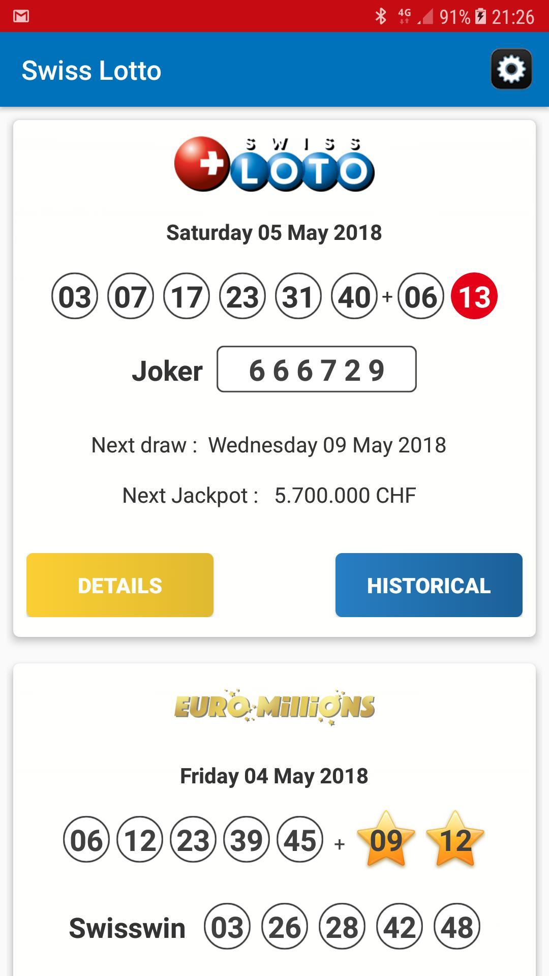 Loteria suíça (6 из 42 + 1 do 6)